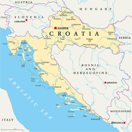 Croatia Political Map with capital Zagreb, national borders, important cities, rivers and lakes. English labeling and scaling. Illustration.