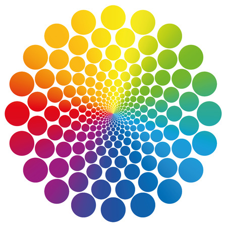 Flower symbol graphic made of geometrically arranged rainbow colored circles that nearly approach infinity towards the center. Isolated vector illustration on white background.