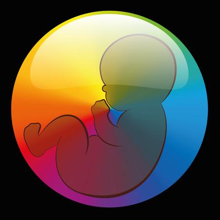 Símbolo de bebé en un arco iris de colores ronda burbuja brillante. Ilustración del esquema del vector aislados sobre fondo negro.