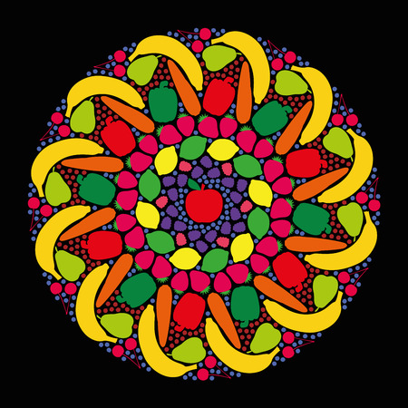 gateau: Fruits and vegetables that form a colorful mandala. Isolated vector illustration on black background.