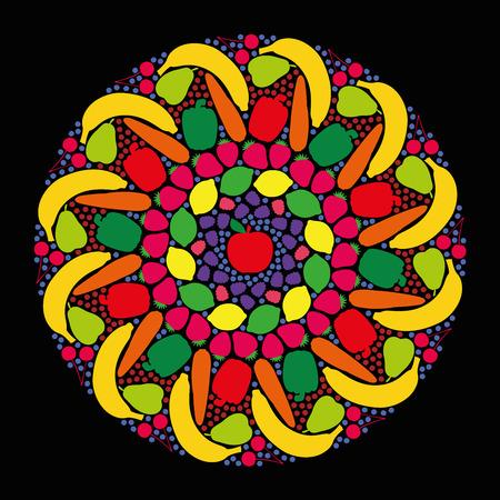 gateau: Frutta e verdura che formano un mandala colorato. Illustrazione vettoriale isolato su sfondo nero. Vettoriali