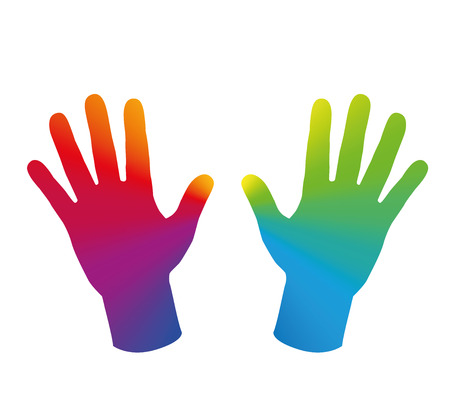 energy healing: Two hands that are colored with a rainbow gradient. Isolated vector illustration on white background. Illustration