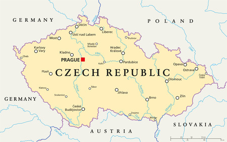 mapa politico: Rep�blica Checa Mapa pol�tico con capital de Praga, de las fronteras nacionales, ciudades importantes, r�os y lagos. Etiquetado y escalado Ingl�s. Ilustraci�n. Vectores