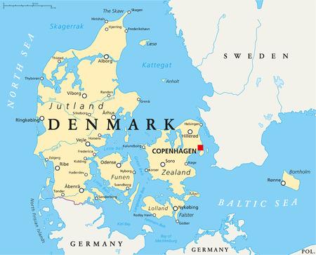 mapa politico: Dinamarca Mapa pol�tico con capitales de Copenhague, de las fronteras nacionales, las ciudades y los r�os importantes. Etiquetado y escalado Ingl�s. Ilustraci�n.