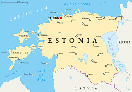labeling: Estonia Political Map with capital Tallinn, national borders, important cities, rivers and lakes. English labeling and scaling. Illustration. Illustration