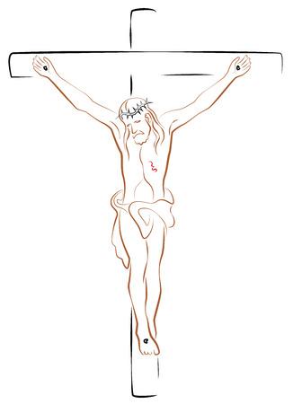 kruzifix: Jesus Christus Kruzifix. Isolierte Umrisse Vektor-Illustration auf weißem Hintergrund.