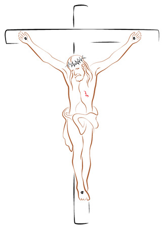 Jesus Christ Crucifix. Isolated outline vector illustration on white background. Illustration