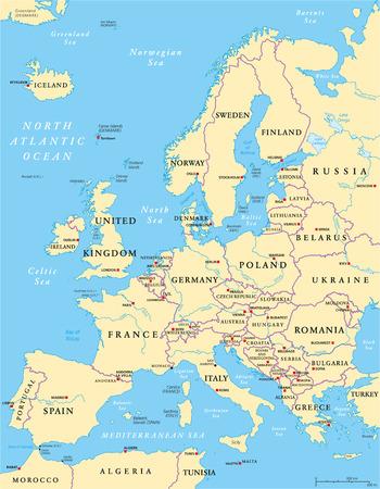 Carte de l'Europe politique et la région environnante. Avec les pays, les capitales, les frontières nationales, les grandes rivières et les lacs. Étiquetage anglais et mise à l'échelle. Illustration.