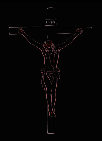 salvation: Jesus Christ Crucifix over black background. Isolated outline vector illustration.