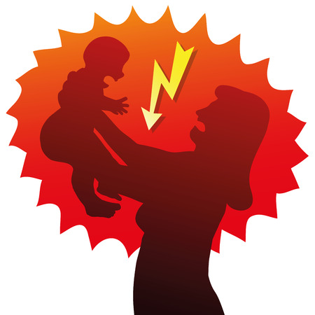 angry baby: Angry and stressed mum with crying baby. Isolated vector illustration on white background.