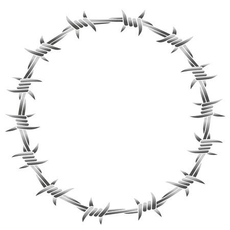 fil de fer: Barbelés formant un cadre rond. Isolated illustration sur fond blanc.