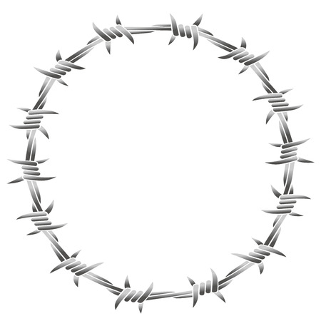 Barbed wire forming a round frame. Isolated vector illustration on white background.