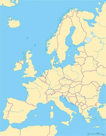 political map: Europa Mapa Pol�tico y la regi�n circundante. Los pa�ses con las fronteras nacionales, grandes r�os y lagos. Escalamiento Ingl�s. Ilustraci�n.