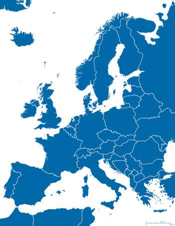 Carte de l'Europe politique et de la région avec tous les pays et les frontières nationales. Bleu aperçu illustration sur fond blanc avec mise à l'échelle anglais.