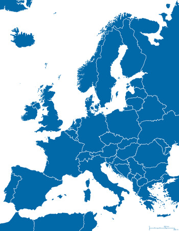 coastlines: Europe Political Map and surrounding region with all countries and national borders. Blue outline illustration on white background with english scaling.