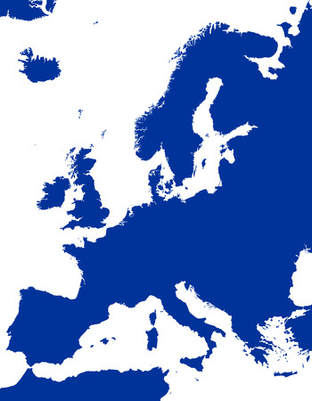 aegean: Europe Political Map and surrounding region. Blue silhouette illustration on white background with english scaling. Illustration