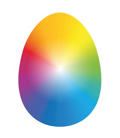 inked: Easter egg inked with rainbow colors. Isolated vector illustration over white background. Illustration