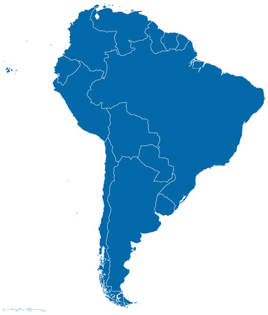 Political map of South America with all countries and national borders. Blue outline illustration on white background and english scaling.