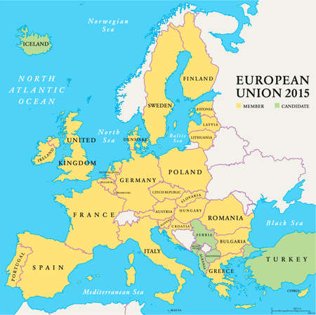 Europe Political Map And The Surrounding Region With Countries - Sweden map in english
