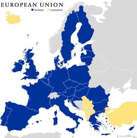mapa politico: Pa�ses de la Uni�n Europea mapa pol�tico esquema con las fronteras nacionales. Los pa�ses miembros en azul y candidatos en color amarillo. Aislado en el fondo blanco. Etiquetado y escalado Ingl�s. Vectores