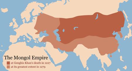 モンゴル帝国地図 1227 年チンギス Khans 死とその最大限 1279 年に。ベクトル イラスト。
