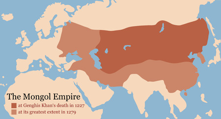 extent: Mongol Empire map at Genghis Khans death in 1227 and at its greatest extent in 1279. Vector illustration.