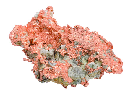 mineralogy: Native copper isolated over white background. Freshly exposed metal surface with reddish-orange color embedded in green turquoise mineral. Chemical element Cu.