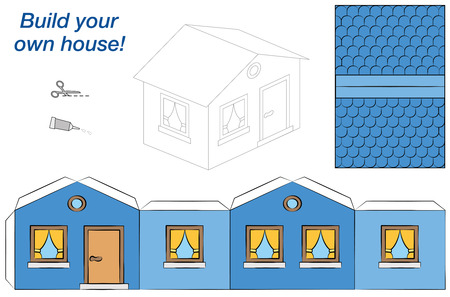 domiciles: Paper model of a blue house - easy to make. Isolated vector illustration on white background.