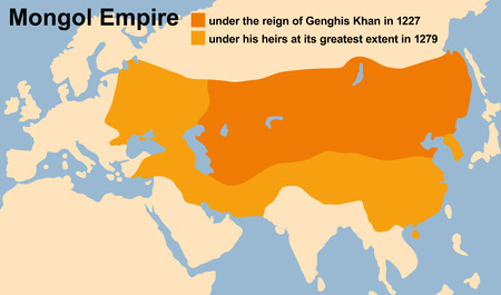 Genghis Khans Mongol Empire in 1227 and at its greatest extent in 1279. Vector illustration.