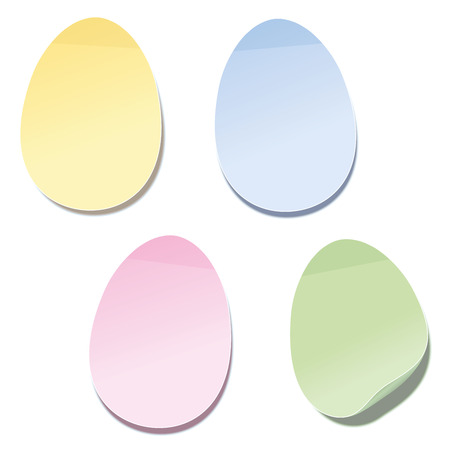 egg shape: Sticky notes in easter egg shape - blank yellow, blue, pink and green note paper. Isolated vector illustration on white background.