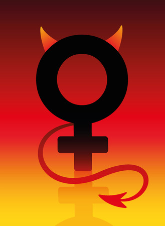 devil woman: Female devil sign with tails and horns on blazing background as a symbol for a bad girl. Vector illustration.