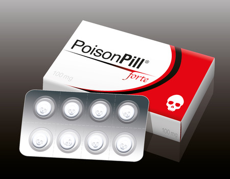 remedy: POISON PILL FORTE with a skull as brand logo on the cardboard packet and a remedy blister with skull shaped pills. It is a medical fake product. Vector illustration.