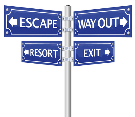 escape route: EXIT, ESCAPE, WAY OUT and RESORT, written on four signposts. Isolated vector illustration on white background. Illustration