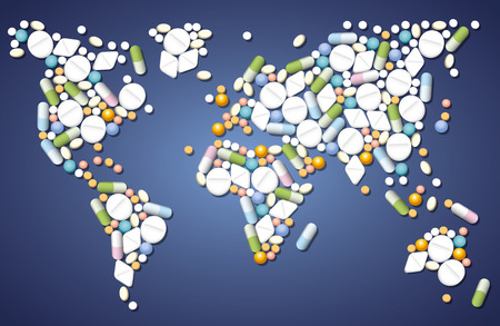 Pills, capsules and tablets that shape the map of the world, as a symbol for global medicine issues. Vector illustration.