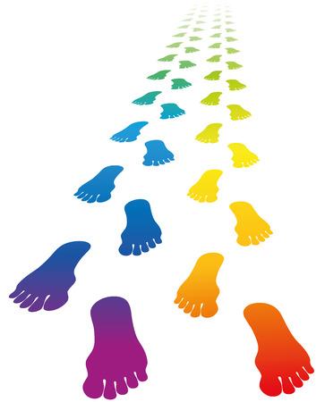 huellas pies: Huellas de un amor de pareja - gradiente de color del arco iris. Ilustración vectorial sobre fondo blanco. Vectores