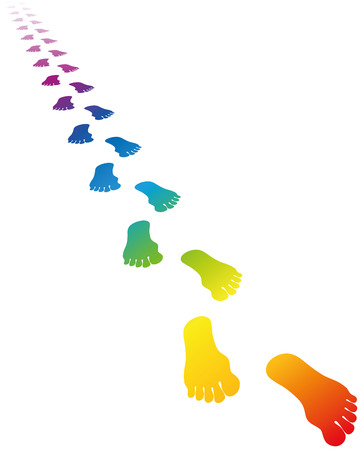 footmark: Footmark in rainbow colors. Vector illustration on white background.