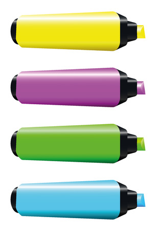 Highlighters - four blank fluorescent markers that can be labeled with your company logo or text. Green, pink, blue and yellow. Isolated vector illustration on white background. Vector