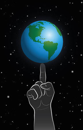 poise: A giant finger controls planet earth, a symbol for God or godlike behavior. Vector illustration on star pocked black background. Illustration