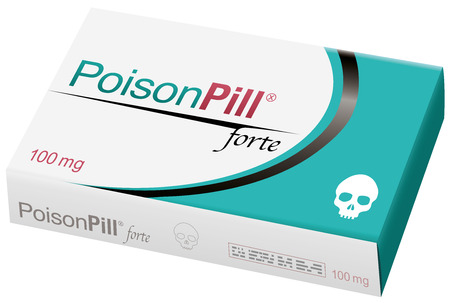 POISON PILL FORTE with a skull as brand on the remedy box. It is a medical fake product. Vector illustration.