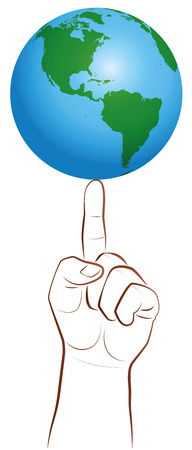 poise: Planet earth on a giant finger tip as a symbol for a global player. Isolated vector illustration on white background.
