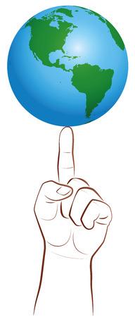 poise: Tierra del planeta en la punta del dedo gigante como s�mbolo de un jugador global. Ilustraci�n vectorial aislados en fondo blanco.