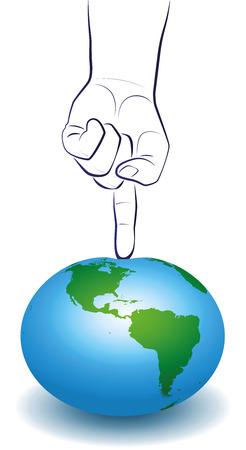 landfills: A huge finger puts pressure onto planet earth, a symbol for global problems. Isolated vector illustration on white background. Illustration