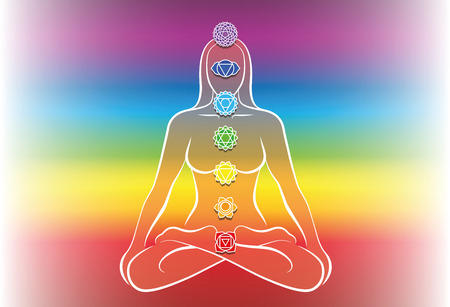 third eye: Chakras of a meditating woman. Vector illustration over rainbow gradient background. Illustration