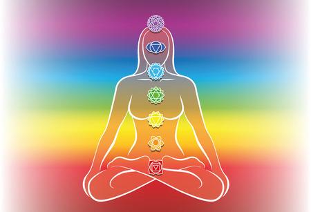 solar plexus: Chakras of a meditating woman. Vector illustration over rainbow gradient background. Illustration