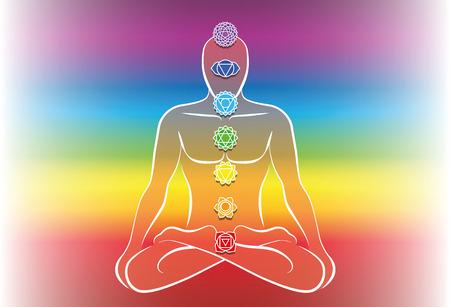 Chakras along a meditating mans body. Vector illustration over rainbow gradient background.