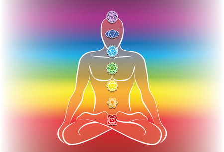 third eye: Chakras along a meditating mans body. Vector illustration over rainbow gradient background.