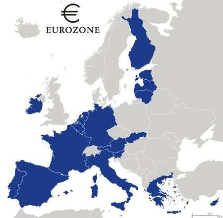 labeling: Eurozone countries outline map with national borders. Eurozone countries, other EU members and countries that unilaterally adopted the Euro. English labeling and scaling. Illustration.