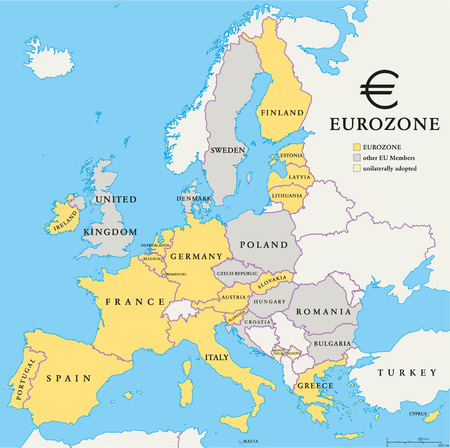eurozone: Eurozone countries map with national borders. Eurozone countries, other EU members and countries that unilaterally adopted the Euro. English labeling and scaling. Illustration. Illustration