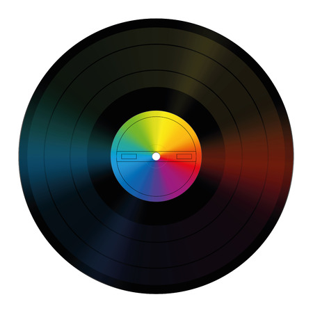 unlabeled: Rainbow colored vinyl record with unlabeled center