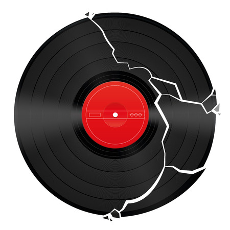 record albums: Broken vinyl record with unlabeled red center.